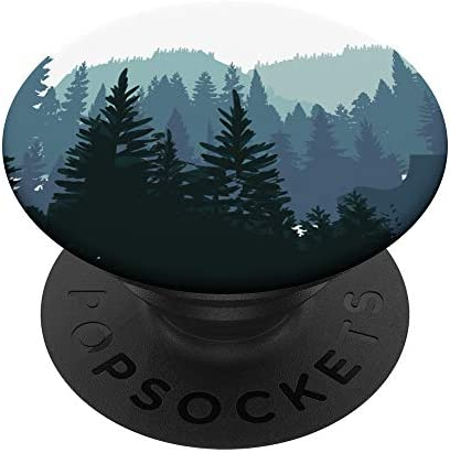 Pine Tree mountain scene Teal forest pattern for boys men PopSockets PopGrip: Swappable Grip for Phones & Tablets
