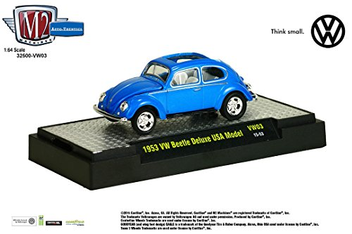 1953 VW BEETLE DELUXE USA MODEL (Blue Pearl) * M2 Machines Auto-Thentics * Volkswagen Release 3 Castline 2015 Premium Edition 1:64 Scale Die-Cast Vehicle & Display Case Set ( VW03 15-53 ) (53 Chevy Truck Model compare prices)