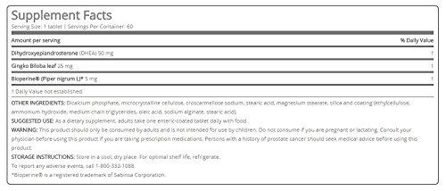 DHEA Plus 50 Milligram DHEA Dietary Supplement, Gingko Biloba, Bioperine (60 Count/Servings) by WIN Worldwide (Image #2)