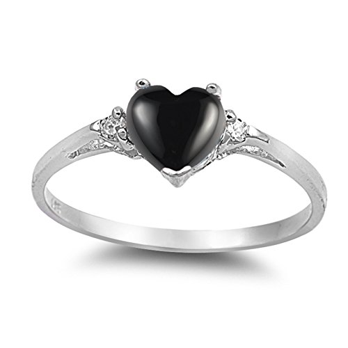 (925 Sterling Silver Cabochon Natural Genuine Black Onyx Heart Promise Ring Size 4)