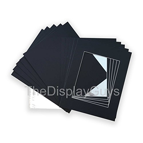 "The Display Guys, Pack of 10 Black Pre-Cut Picture Mat Set - 16""x20"" inches for 11""x16"" Photo (White Core Bevel Cut Mats + Backing Boards + Clear Plastic Bags)"