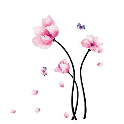 Soledi® Removable Pink Flower Butterfly Wall Sticker Mural Decal Home Room Bedroom Decor Vinyl Art