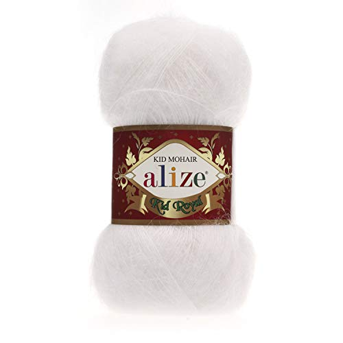 Angora Mohair Wool Knitting Yarn Thread Crochet Lace Shawl Scarf Crochet Thread Supplies Alize Kid Royal Lot of 4 skeins 200gr 2184yds Color 55 White ()