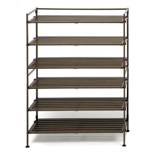 Seville Classics 3-Tier Resin Slat Utility Shoe Rack (2-Pack), (Wood Slat Shelves)