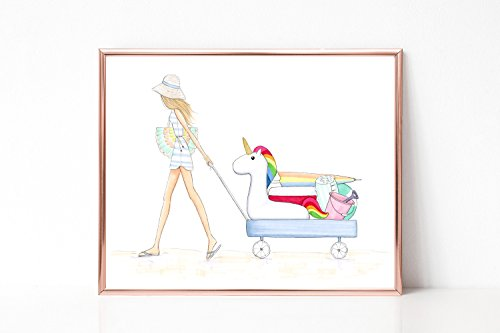 Unframe Customizable Day at the Beach with my Floatie Fashion Illustration Art Print by De Almeida Illustrations