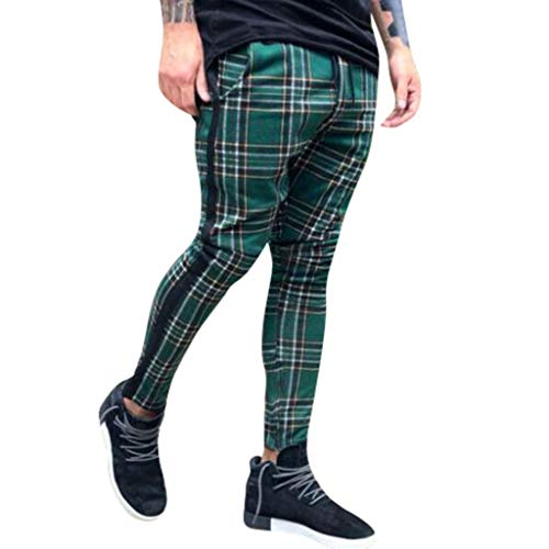 (iYBUIA Men's Plaid Long Slim Fit Sport Pants Trousers Joggers Sweatpants Green)