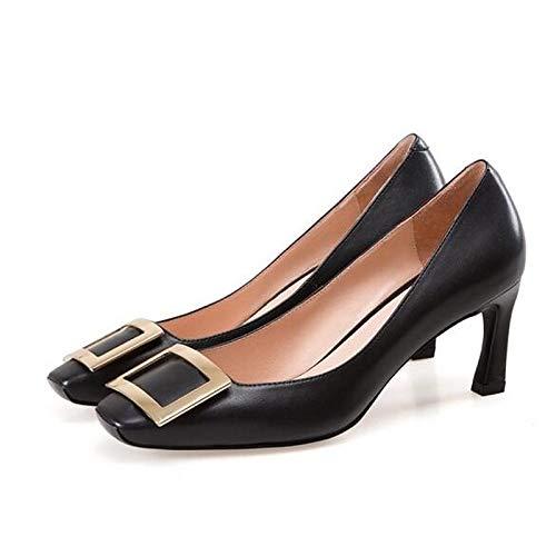 Noir ZHZNVX Chaussures Femme Nappa Leather Spring Escarpins Basic Stiletto Heel noir rose 38.5 EU