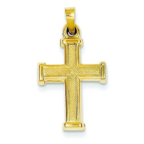 Creux 14 Carats Pendentif croix-Dimensions :  19 x 14 mm-JewelryWeb