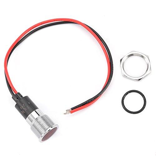 Led 24v Mm 16 (uxcell DC 24V 16mm Thread Dia Flat Head Red LED Metal Signal Indicator Pilot Dash Light)