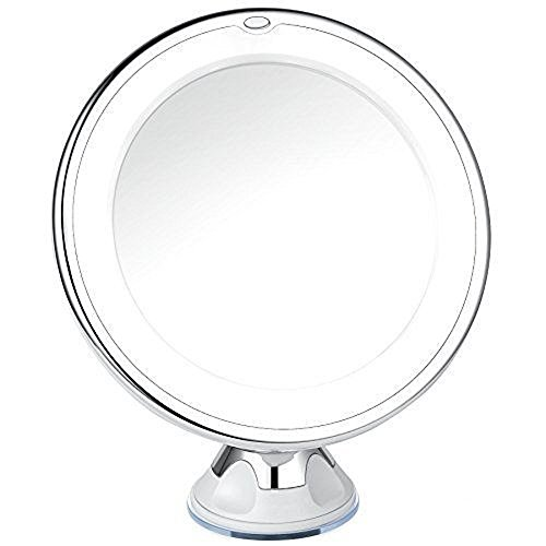 Amani Design Lighted Magnifying Makeup Mirror with 10X Magnification- Adjustable Bright LED Vanity Mirror with Light - Locking Suction, Cordless, Battery Powered, 7 Inches Wide, Compact - Amani Glasses