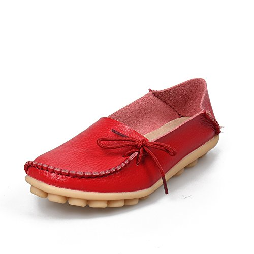 Mocassini Da Donna In Pelle Casual Sunrolan Slip-on Mocassini Slip-on Mocassini Da Guida Rossi