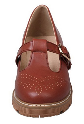 Pumps Womens AllhqFashion Solid Brown PU Up Round Low Toe Lace Shoes Heels OxpqwH