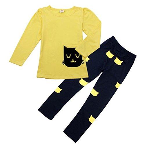 TIFENNY New Kids Girl Long Sleeve Cartoon Cat Shirt +Pant Set (130, Yellow)