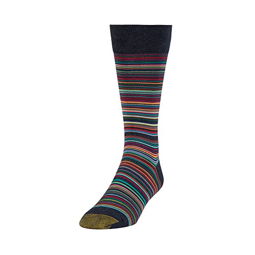 Sock Fashion Stripe - Gold Toe Men's Patterned Fashion Dress Crew Socks, 1 Pair, Frankie stripe 1, Shoe Size: 6-12.5