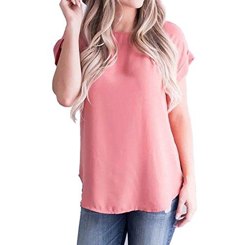 Amlaiworld Women Fashion Tops Summer Casual Tee Shirt Solid Chiffon Short Sleeve T-Shirt Tank Top Blouse Activewear Watermelon Red