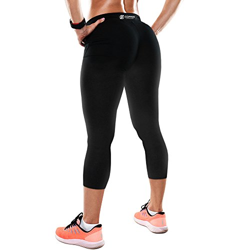 Cheap Copper Compression Womens Capri Leggings/Calf Length Yoga Pants/Cropped Tights. Guaranteed Highest Copper Content. #1 Copper Infused Active Fit Athletic/Activewear / Athleisure Black Capris – XL