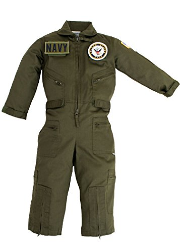 - Kids Military Pilot Airman OD Green Flight Suit US Navy Patches X-Large (12)