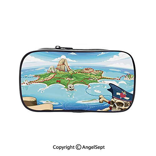(Cute Pencil Case - High Capacity,Aerial View Fantasy Pirate Cove Island with Crossbones and Captain Skull Figure Multicolor 5.1inches,Multifunction Cosmetic Makeup Bag,Perfect Holder for Pencils and)