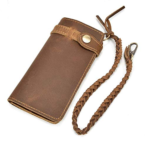 - LUUFAN Men's Genuine Leather Long Wallet Chain Wallet, Engraved Bifold Wallet