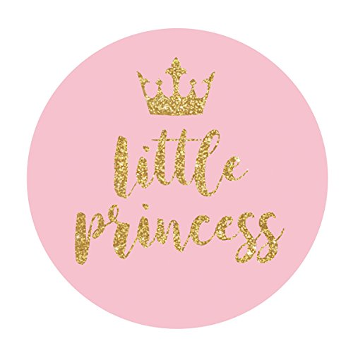 MAGJUCHE Pink Little Princess Crown Stickers, Gold Glitter Girl Baby Shower or Birthday Party Circle Sticker Labels, 2 Inch Round, 40-Pack
