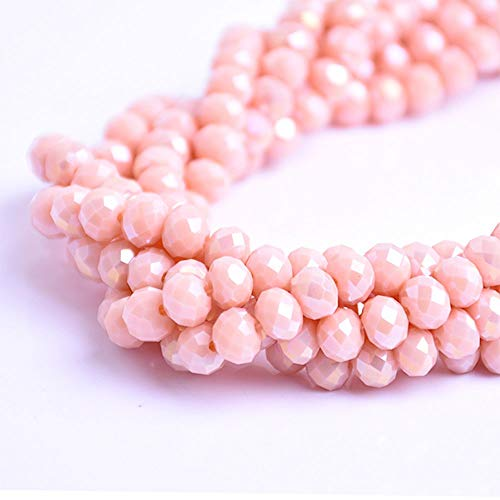 - BeadsOne 4mm - 150 pcs - Glass Rondelle Faceted Beads Dark Beige Matte AB Orange for jewerly Making findings Handmade jewerly briolette Loose Beads Spacer Donut Faceted Top Quality 5040 (AB D132)