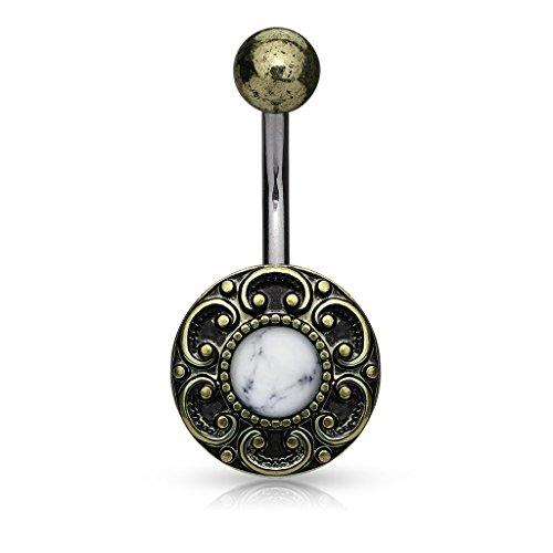 Antique Gold Plated Filigree Edge Semi-Precious Stone Belly Button Ring (White ()
