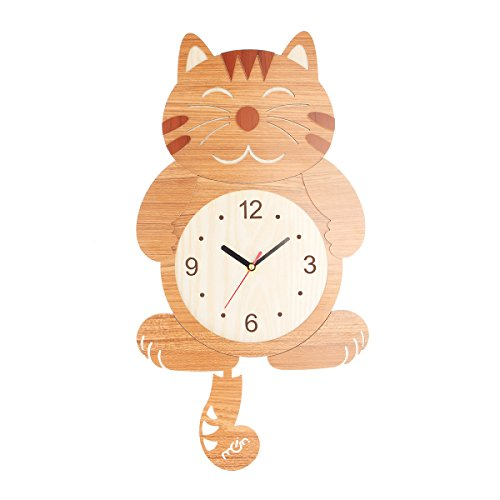 10' Wall Clock (Jeteven Wall Clock, Cat Wall Clock Large with Swinging Tails Battery Operated for Home Office School Clock 19.6'' x 10'')