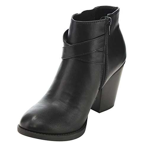 Soda Women's Panel Ankle FD23 Elastic Strap Crisscross Black Buckle Side Booties AAwRTrZq