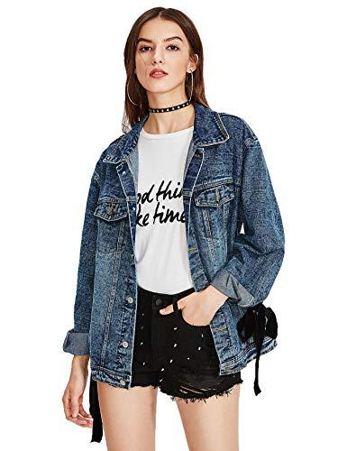 Womens Jacket Eyelet (SheIn Women's Classic Loose Eyelet Lace up Denim Jacket Blue# Large)