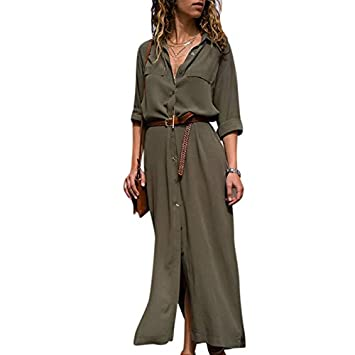 Zehui Vestido de Banquete de Manga Larga, Vestido Largo de Moda de Las Mujeres, Vestido de la Camisa de Ocio 2018 últimos moldes XL Verde: Amazon.es: Hogar