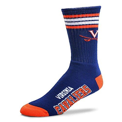 For Bare Feet NCAA 4 Stripe Deuce Crew Men Socks-Virginia - Virginia Stripes Cavaliers Ncaa
