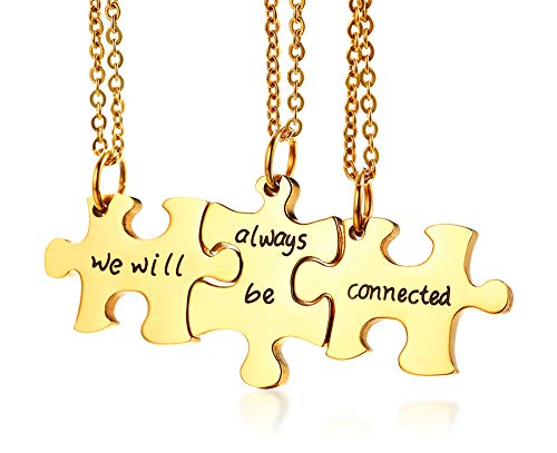 VNOX Personalized Custom 3/4/5 Piece Heart Puzzle Piece Necklace Set BBF Friendship Necklace for 3/4/5 (3 Piece-We Will be we Will Connected)