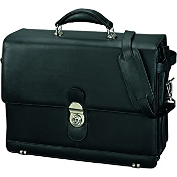 Image of Luggage Alassio 47127 MONZA briefcase with shoulder strap, leather, black
