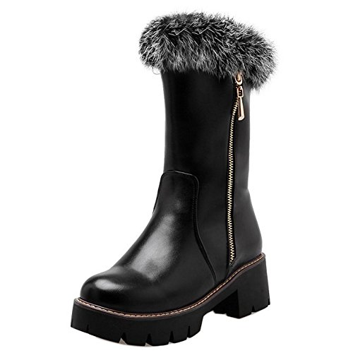 COOLCEPT Damen Warm Gefuttert Stiefel Zipper Black