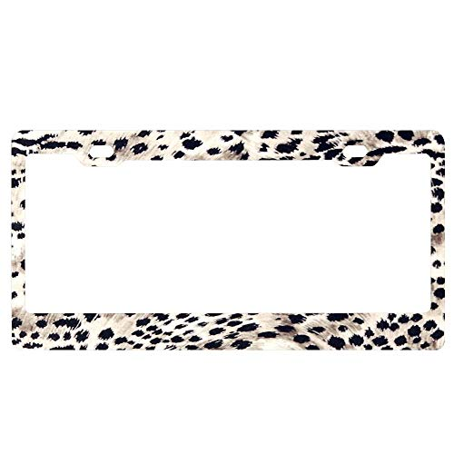 - GqutiyulUCOOL Decorator Frames US License Plate Frame, Fabric Art Faux Animal Fur Snow Leopard Print Personalized Auto Tag Holder, Aluminum Metal Funny Car Tag Frame