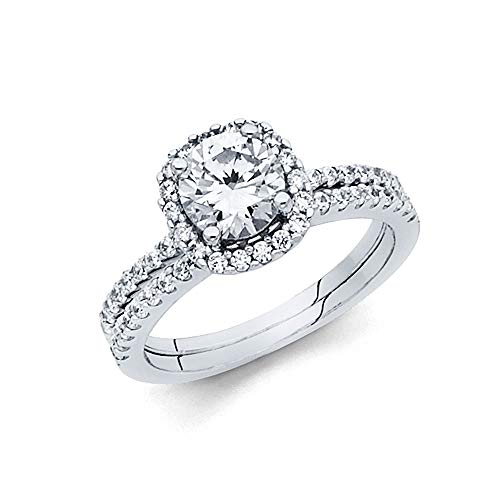 Wellingsale Ladies Solid 14k White Gold CZ Cubic Zirconia Round Cut Halo Engagement Ring with Side Stones and Matching Band Bridal Set - Size 8.5