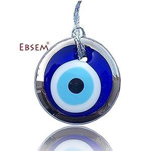 Silver Gilt Handmade Evil Eye Glass Charm Decorative Ornament (1.5 inches)