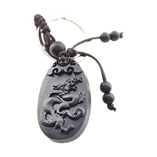 (FOY-MALL Chinese Zodiac Dragon Ebony Wood Carved Men Women Keyring for Gift M1106)
