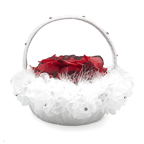 Burcan Wedding Flower Girl Basket with Ostrich Fluff and Lace Flowers,9 inch by 9.5 inch ()