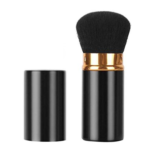 Sinide Retractable Makeup Brushes Professional Kabuki Brush Set, Cosmetic Beauty Tool Foudation Blush Brush for Mineral Powder, Contouring, Cream or Liquid (Black-Gold)