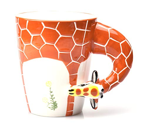 3D Coffee Cup Handmade Hand Painted 3D Giraffe Mug for Best couple gifts,Best friend gift,Birthday Gift, Father's Day Gift,Children's day - 400ml,13.5oz ()