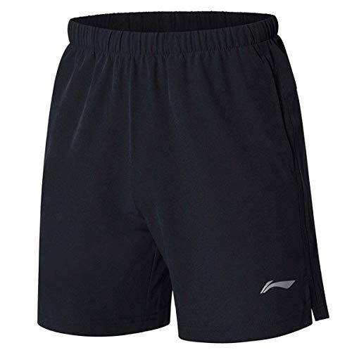 Badminton Clothing - LI-NING Men's Competition Badminton Shorts Breathable Fitness Comfort Sports Shorts Black AAPN259 Size XL