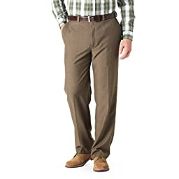 Haggar HD00218 Mens eCLo Stria Expandable-Waist Plain-Front Dress Pant, Khaki - 40-31