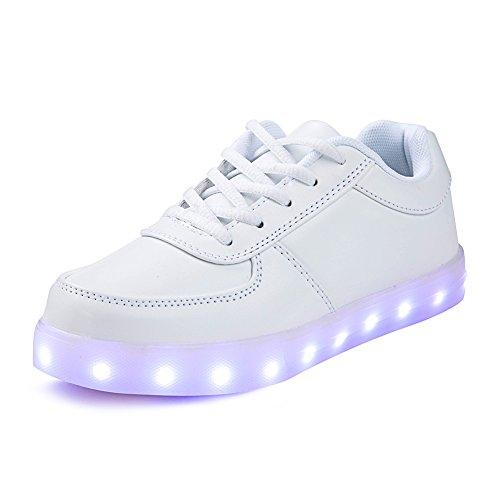 SAGUARO® 7 Colors LED Light Up Shoes USB Charging Luminous Flashing Sneaker Fashion Low Top Glow Sportschuhe for Women Men Kids Boys Girls, Weiß 40