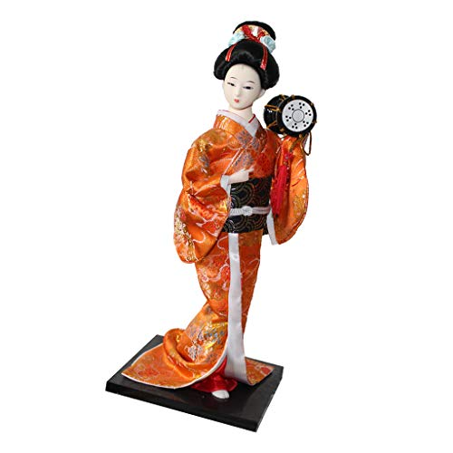 SM SunniMix 12inch Japanese Geisha Lady Doll with Orange Kimono Ornament Adult Collectible