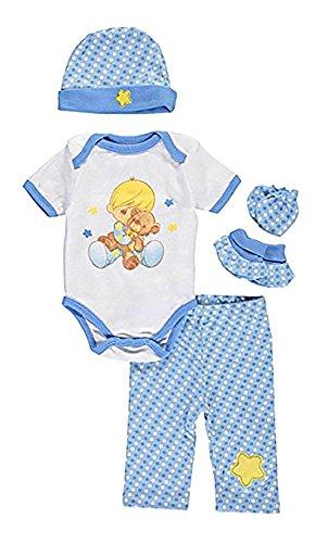 Precious Moments Baby Boys Star & Teddy 5-Piece Layette Gift Set - blue