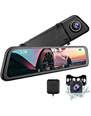 """2.5K 12"""" Mirror Dash Cam - CARCHET 2.5k Mirror Dash Cam for Cars with IPS Full Touch Screen & Waterproof Rear View Camera Backup Camera, Sony IMX335 Sensor Parking Monitor Voice Control, GPS Tracking"""