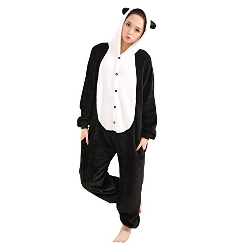 Afoxsos Women's Cosplay Flannel Anime Cartoon Onesie Adult Pajamas Size M Panda
