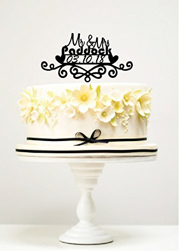 KISKISTONITE Cake Toppers Hearts Floral Mr & Mrs Paddock Custom Wedding Cake Decorations Anniversary Favors Party Cake Decorating - Paddock Hours