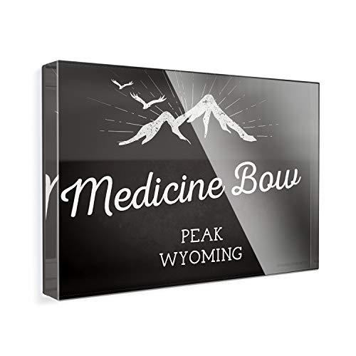Acrylic Fridge Magnet Mountains chalkboard Medicine Bow Peak - Wyoming NEONBLOND